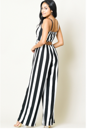 STRIPED WIDE LEG JUMPSUIT WITH FRONT TIE DESIGN! STRETCH FABRIC!