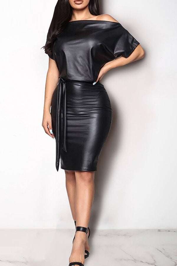 Off Shoulder Leather Bodycon