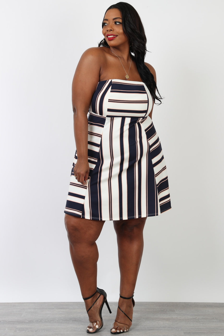 Striped Fit & Flare Mini Dress
