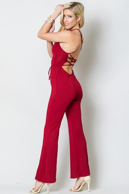 Back Out Tie Jumpsuit