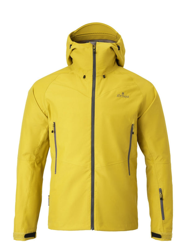 Men's oat yellow hard shell jacket.