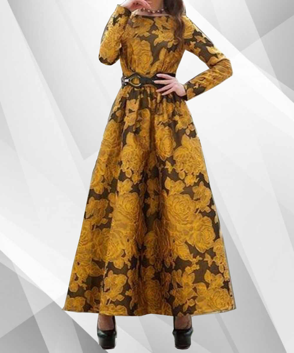 3D Flower Long Maxi Dress | Modest Apparel - Modest Apparel | Modest Nisah