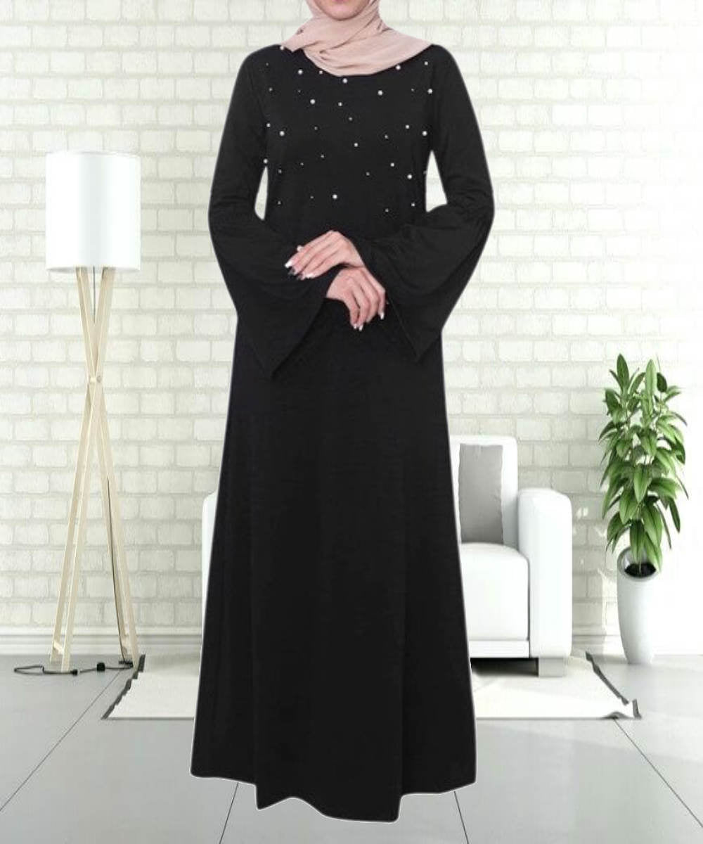Beading Flare Sleeves Abaya - Modest Apparel | Modest Nisah