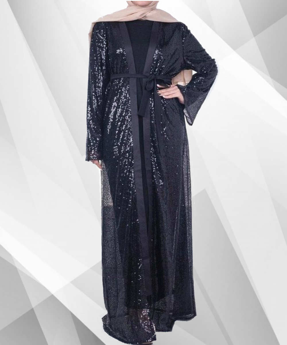 Black Sequined Abaya - Modest Apparel | Modest Nisah