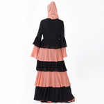 Black and Peach Ruffled Tiered Kimono - Modest Apparel | Modest Nisah