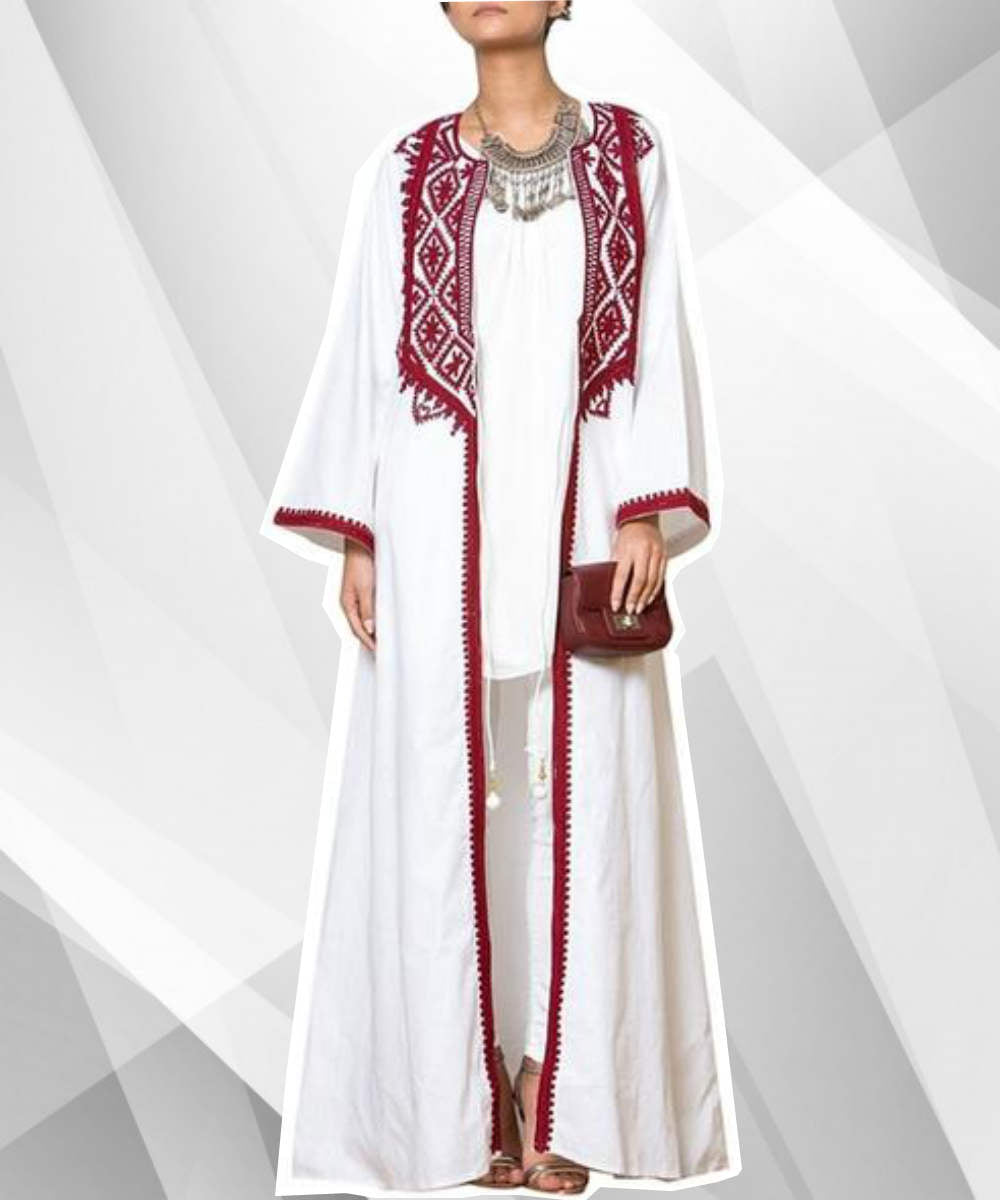 Chiffon Embroidered White Abaya - Modest Apparel | Modest Nisah
