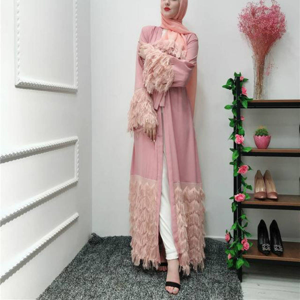 Elegant Feather Opened Abaya