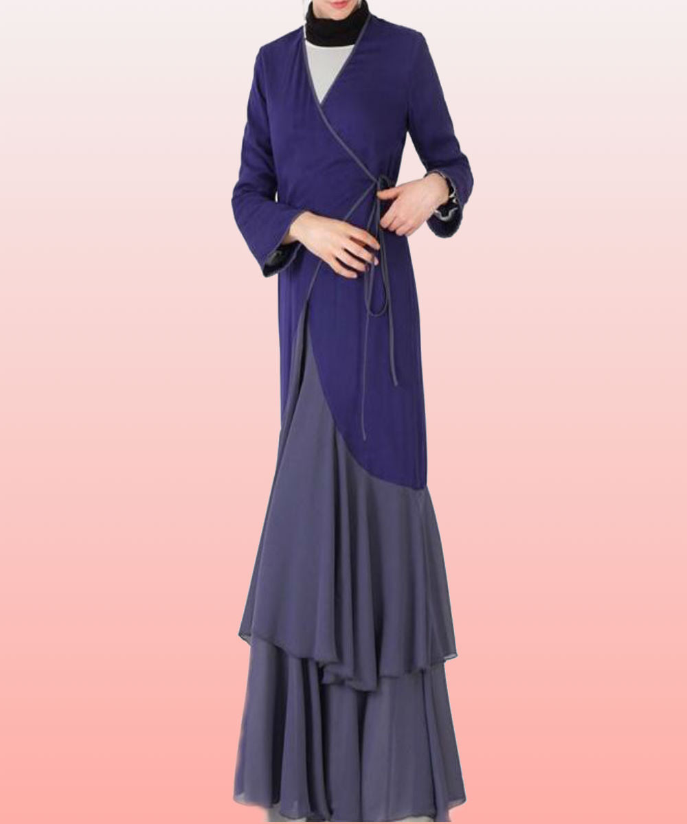 Indigo Layered Kimono - Modest Apparel | Modest Nisah