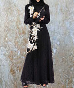 Lace Floral Embroidered Abaya - Modest Apparel | Modest Nisah