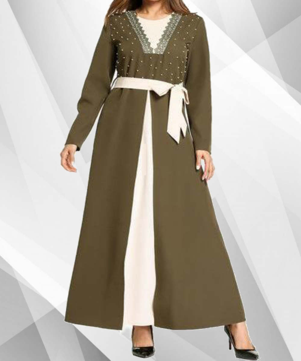 Lace and White Pearl Belted Jubah - Modest Apparel | Modest Nisah