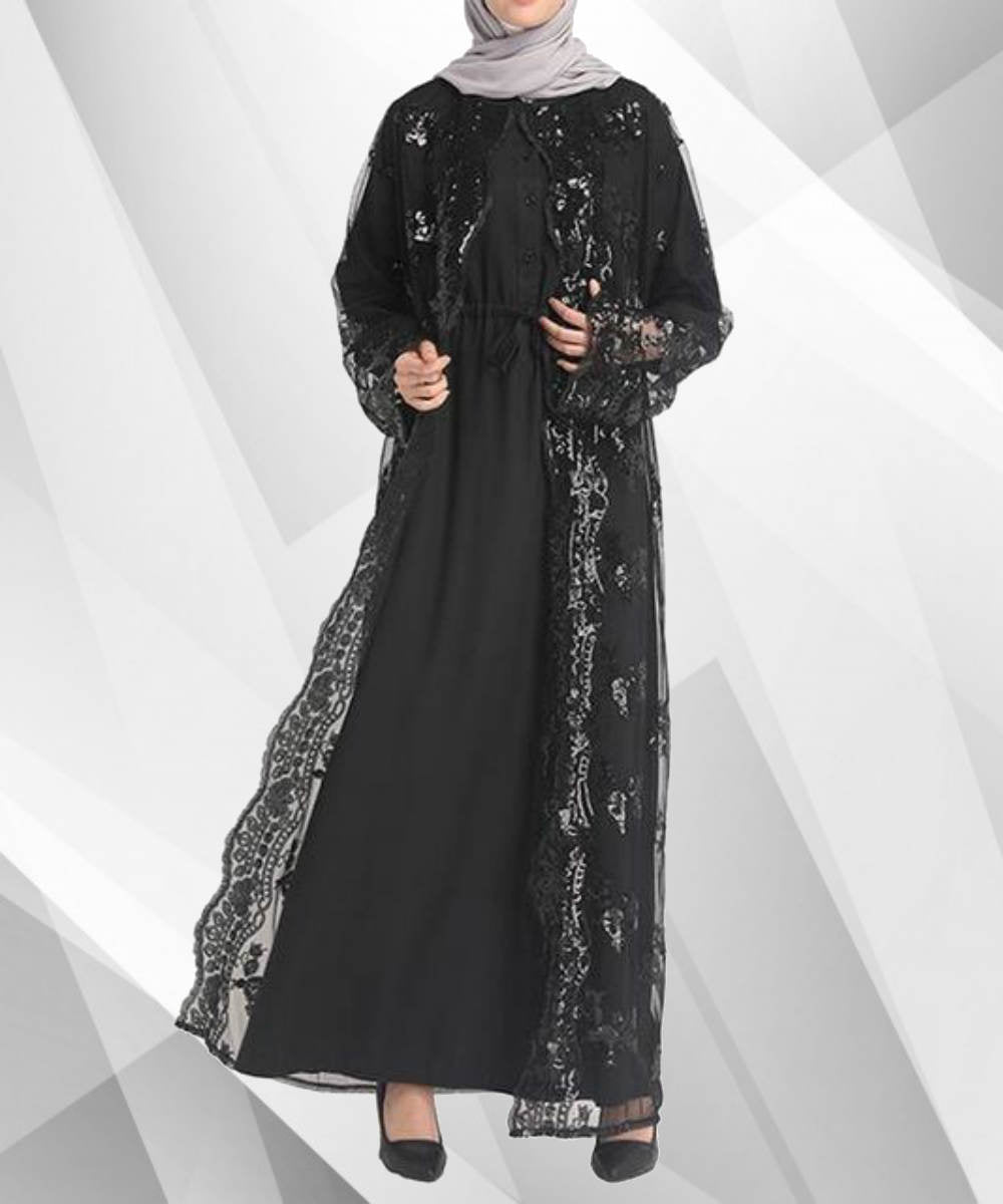 Metallic Mesh Abaya - Modest Apparel | Modest Nisah