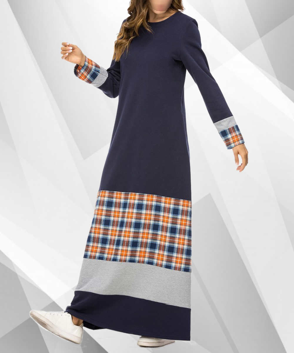 Mix Pattern Plaid Maxi Dress - Modest Apparel | Modest Nisah