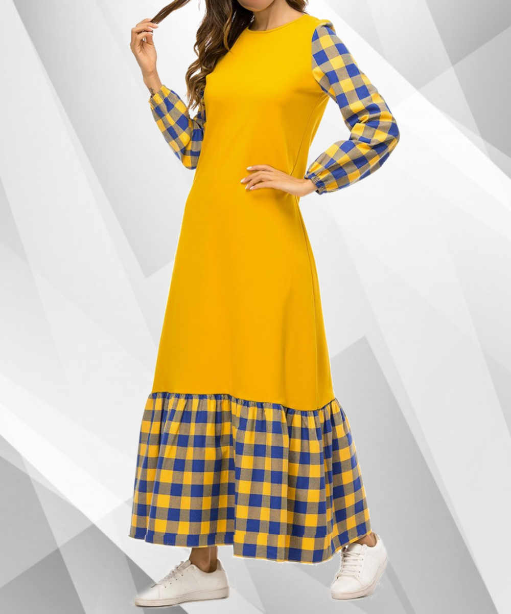 Mixed Pattern Checked Box Maxi - Modest Apparel | Modest Nisah