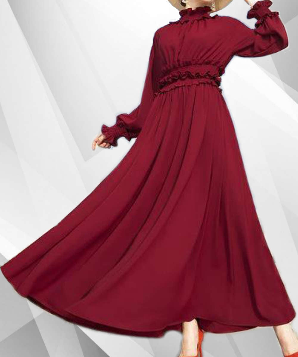 Ruffle Sleeves Long Maxi Dress - Modest Apparel | Modest Nisah