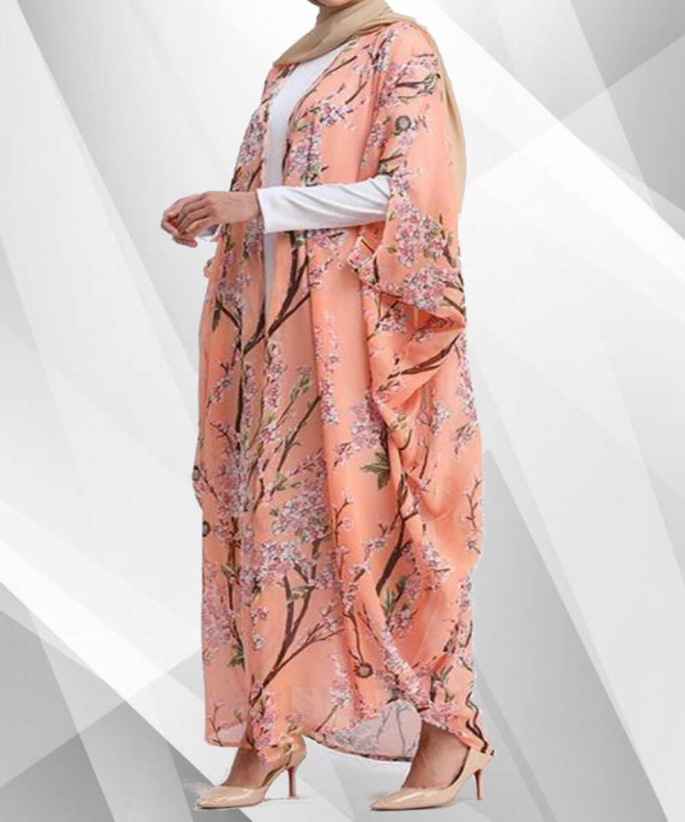 Batwing Peach Flower Abaya - Modest Apparel | Modest Nisah