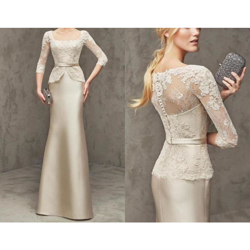 Champagne Lace Mermaid Dress - Modest Apparel | Modest Nisah