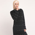 High Neck White Pearl Abaya - Modest Apparel | Modest Nisah