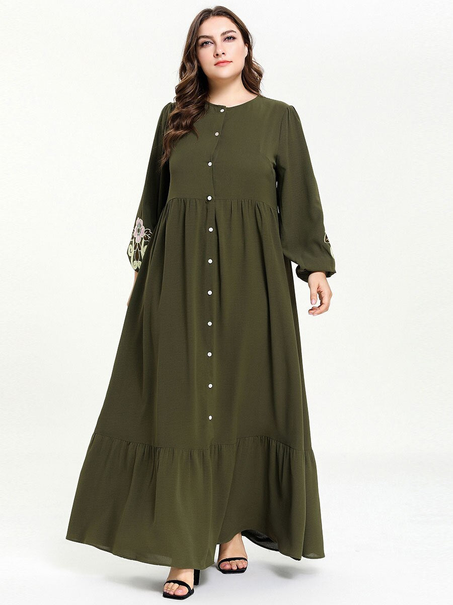 Buttoned Olive Green Abaya - Modest Apparel | Modest Nisah