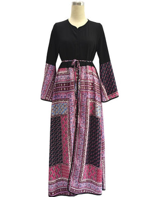 Print Mash-up Chiffon Abaya - Modest Apparel | Modest Nisah