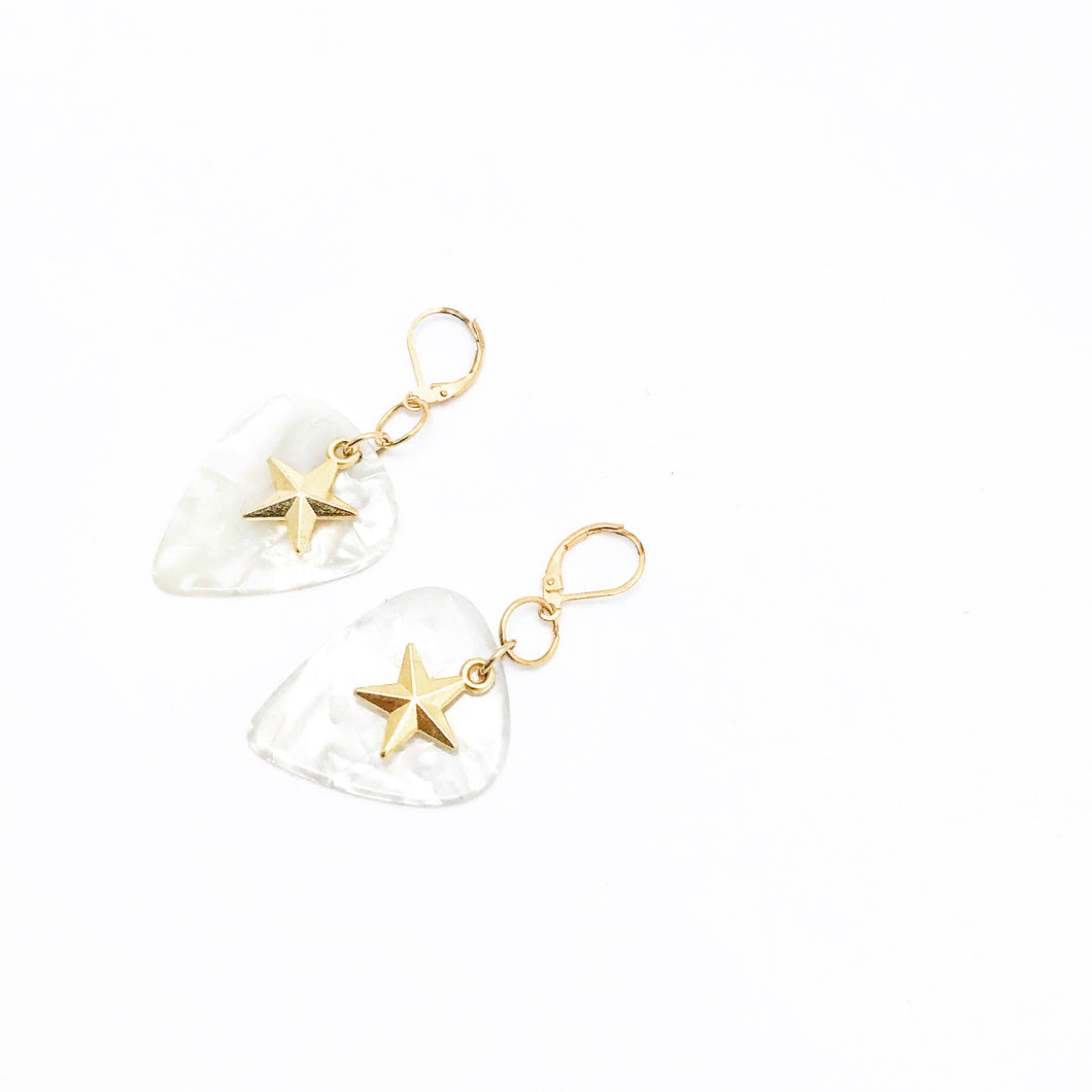 Guitar Pick Earrings | Gold-plated Star | Classic Heartbeat