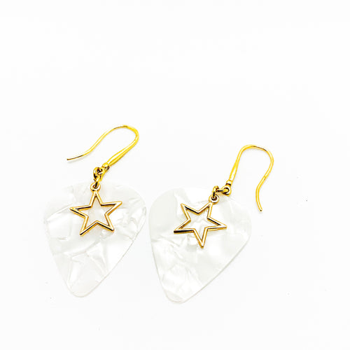 WHITE STAR - Iridescent Guitar Pick Earrings
