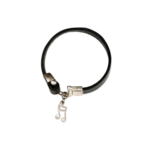 FINDER – Silver Note Leather Bracelet