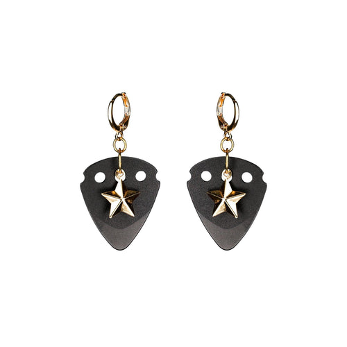 BLACK STAR - Powerful Guitar Pick Earrings