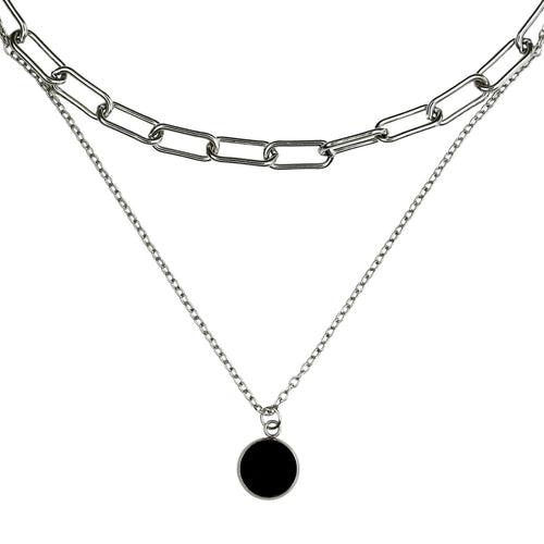 DOUBLE TROUBLE – Multi Tiered Vinyl Necklace
