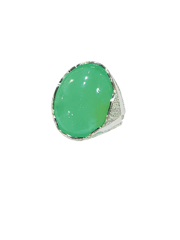 Silver And Chrysoprase Ring