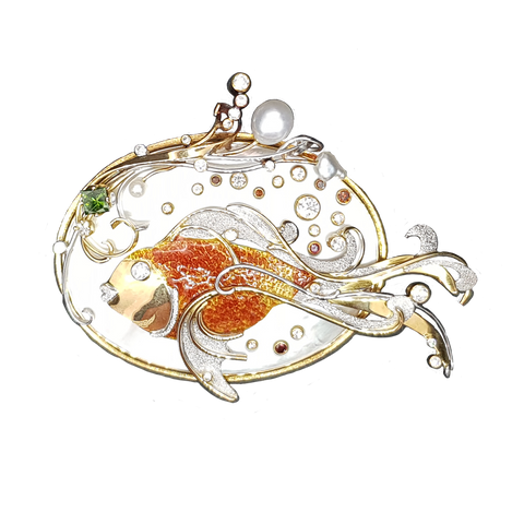 Fantail Goldfish On Mother Of Pearl Pendant