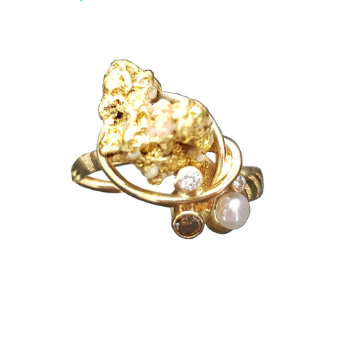 Gold Nugget And Pearl Ring