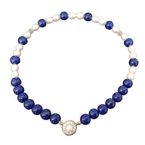 Lapis And Pearl Strand With Diamond And Pearl Clasp