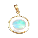 Pearl And Australian Opal Oval Pendant