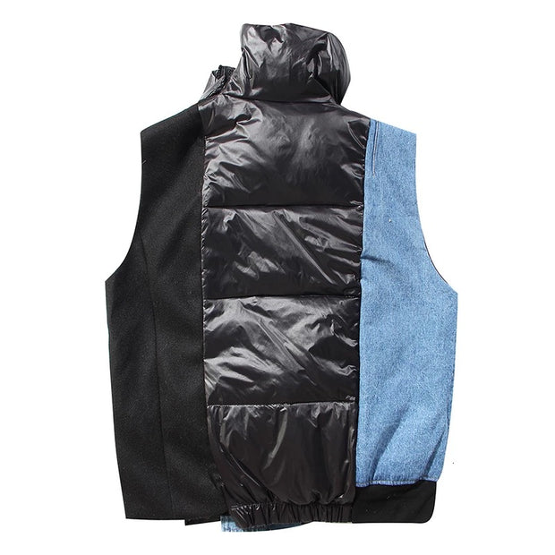 GOLDxTEAL Laila Puffer Vest. Modern and fashion forward puffer vest with denim paneling.