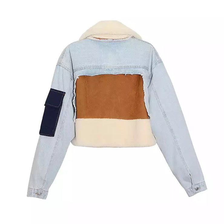 Plain Denim Patchwork Jacket