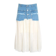 GOLDxTEAL distressed denim skirt with flowing underlay. Rocker chic and romantic style denim skirt.