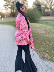 GOLDxTEAL You're The Star Blouse. Gorgeous pink and black printed blouse with a bow neck and flowing sleeves.