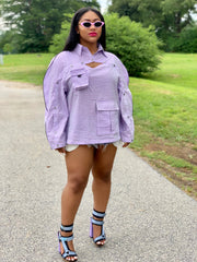 GOLDxTEAL Purple Poison Top. Gorgeous shimmery purple check top with buttons from sleeves across the chest. Modern top with three dimensional pocket.