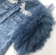 GOLDxTEAL Mia Denim Shirt. Stylish acid wash denim shirt accented with lace and sheer mesh layered ruffle short sleeves.