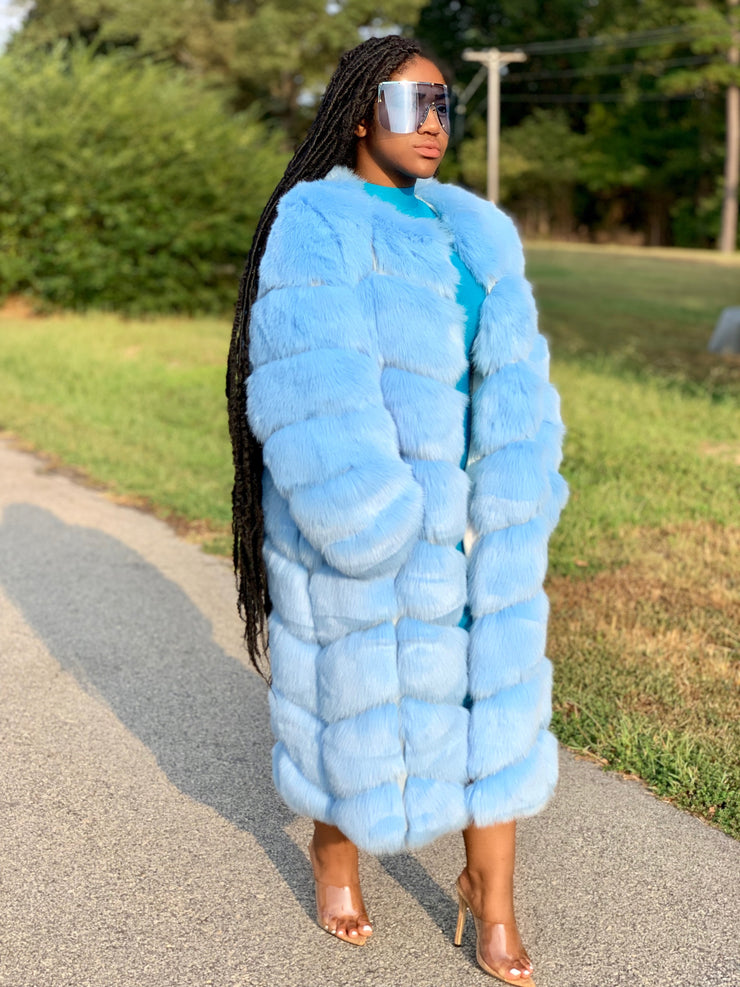 GOLDxTEAL Boss Sky Blue Faux Fur Coat. Gorgeous long vegan fur coat in a beautiful sky blue color.