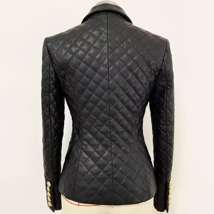 GOLDxTEAL Vegan Leather Quilted Blazer.