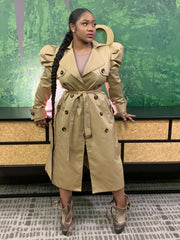 GOLDxTEAL modern trench coat with puff sleeves.
