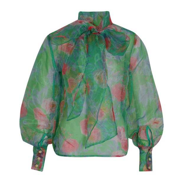 GOLDxTEAL Newberry Blouse. Gorgeous colorful blouse with front necktie, high collar and lantern sleeve.