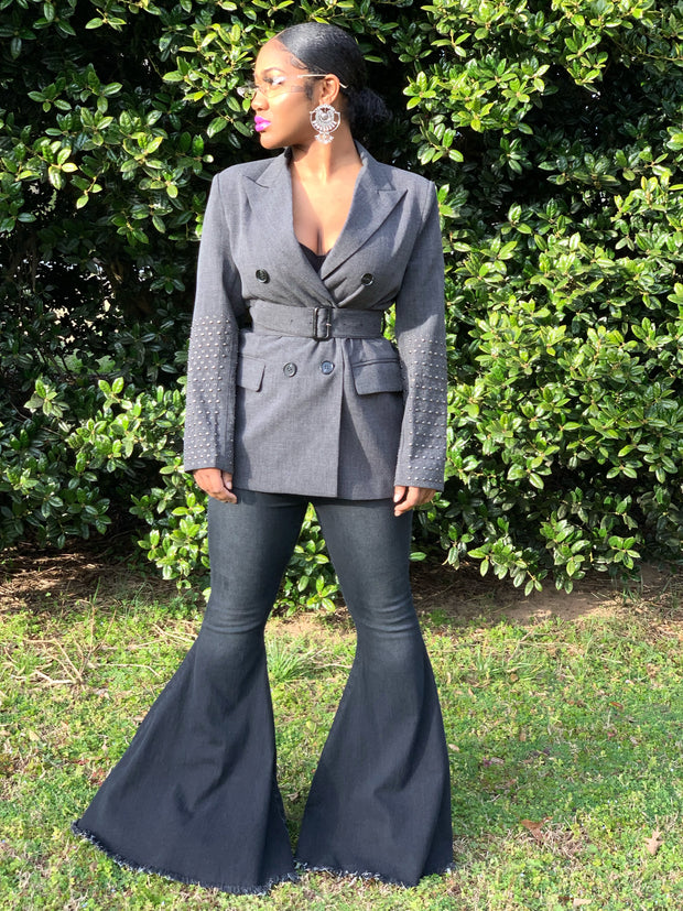 GOLDxTEAL Keynote Blazer. Stylish gray double breasted blazer with a belted waist and studded sleeves.