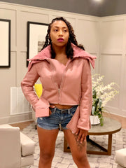 GOLDxTEAL stylish mauve vegan leather shearling jacket.