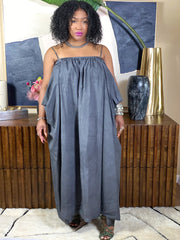 GOLDxTEAL Elevated Dress. Stylish origami style long dress with exaggerated pockets in washed linen and cotton.