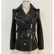 GOLDxTEAL Vibe Vegan leather motorcycle jacket. This jacket is a two in one, with detachable zip bottom.