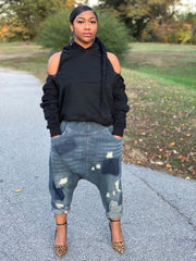 GOLDxTEAL Unravel Hoodie. Stylish black sweatshirt hoodie with zipper detailing for an exposed shoulder and back look.