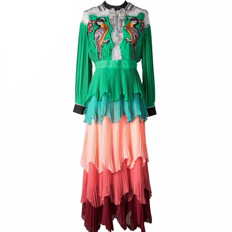 GOLDxTEAL Lola ruffle midi dress. Vibrant colored embroidered dress, embellished with beadioand crystals, layered ruffle bottom with lace and sheer chest paneling.