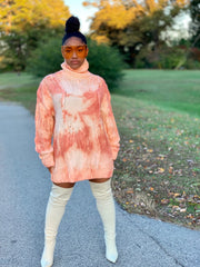GOLDxTEAL Dreamsicle turtleneck sweater. Modern and stylish bleached out chunky sweater.